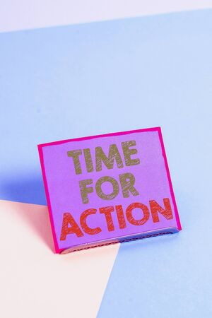 Word writing text Time For Action. Business photo showcasing getting ready to start doing encouragement Go fast Paper placed tilted above buffer wire on soft pastel multi colours backdrop