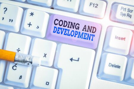 Word writing text Coding And Development. Business photo showcasing Programming Building simple assembly Programs White pc keyboard with empty note paper above white background key copy space