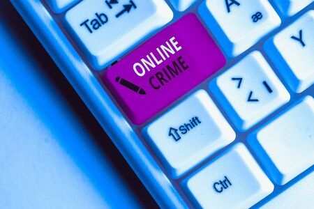 Handwriting text Online Crime. Conceptual photo crime or illegal online activity committed on the Internet White pc keyboard with empty note paper above white background key copy space