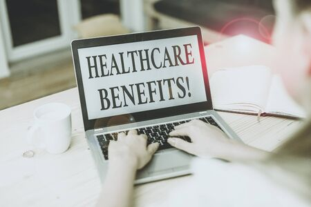 Word writing text Healthcare Benefits. Business photo showcasing monthly fair market valueprovided to Employee dependents woman laptop computer smartphone mug office supplies technological devices 版權商用圖片