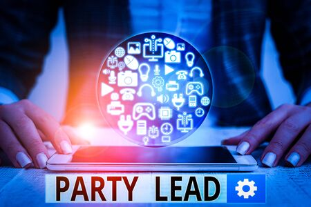 Text sign showing Party Lead. Business photo text acts as the official representative of their political party