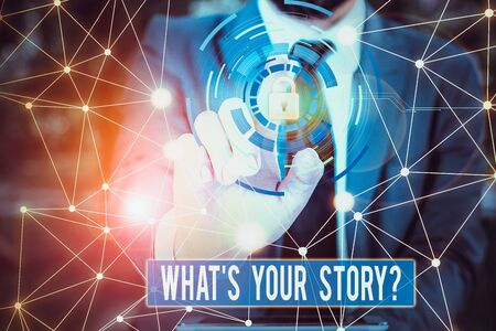 Writing note showing What S Your Story Question. Business concept for asking demonstrating about his past life actions career or events Picture photo network scheme with modern smart device