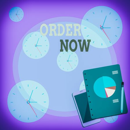 Writing note showing Order Now. Business concept for service restaurants or stores provide to get what you need home Layout Smartphone Off Ballpoint Notepad Business Pie Chart