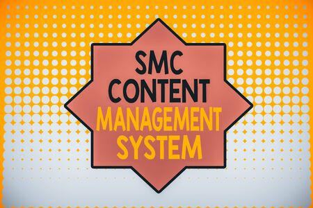 Writing note showing Smc Content Management System. Business concept for analysisgae creation and modification of posts Vanishing dots middle background design. Gradient Pattern. Futuristic