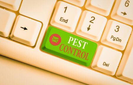 Word writing text Pest Control. Business photo showcasing analysisagement of a species that impacts adversely on huanalysis White pc keyboard with empty note paper above white background key copy space
