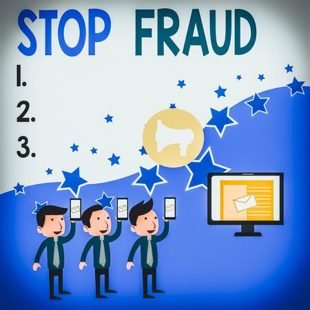 Conceptual hand writing showing Stop Fraud. Concept meaning campaign advices showing to watch out thier money transactions SMS Email Marketing Media Audience Attraction PC Loudspeaker