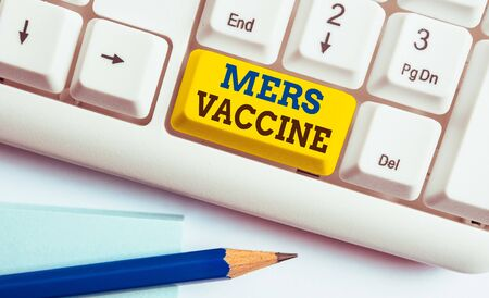 Word writing text Mers Vaccine. Business photo showcasing get dose to improve immunity to viral respiratory disease White pc keyboard with empty note paper above white background key copy space
