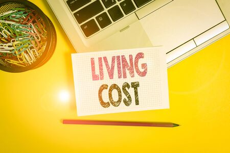 Conceptual hand writing showing Living Cost. Concept meaning the amount of money that a demonstrating needs to sustain life Trendy laptop pencil squared paper container colored background Standard-Bild