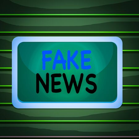 Conceptual hand writing showing Fake News. Concept meaning Giving information to showing that is not true by the media Board rectangle white frame empty fixed color surface plank 写真素材