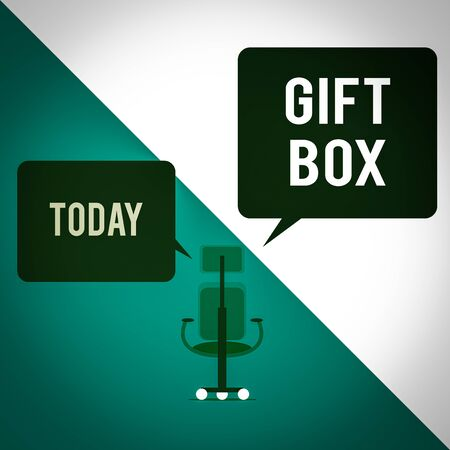 Text sign showing Gift Box. Business photo text A small cointainer with designs capable of handling presents Executive chair sharing two blank square speech bubbles right left side