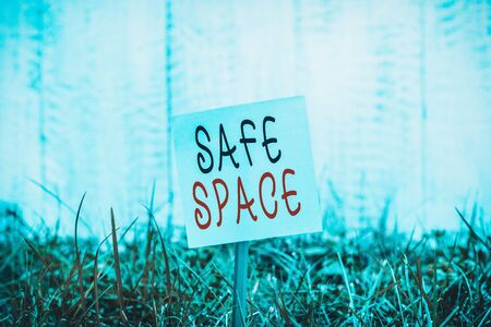 Text sign showing Safe Space. Business photo showcasing a place or room in which you are protected from harm or danger Plain empty paper attached to a stick and placed in the green grassy land Banco de Imagens