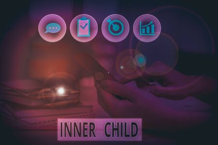 Word writing text Inner Child. Business photo showcasing the childlike usually hidden part of a demonstrating s is demonstratingality