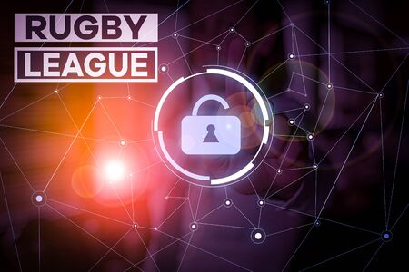Handwriting text Rugby League. Conceptual photo form of rugby football played between teams of 13 players Woman wear formal work suit presenting presentation using smart device