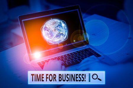 Conceptual hand writing showing Time For Business. Concept meaning fulfil transactions within period promised to client Picture photo network scheme with modern smart device and Elements of this image furnished by NASA