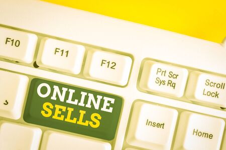 Word writing text Online Sells. Business photo showcasing sellers directly sell goods or services over the Internet White pc keyboard with empty note paper above white background key copy space