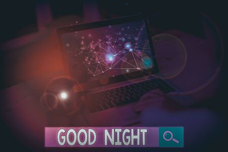 Text sign showing Good Night. Business photo text expressing good wishes on parting at night or before going to bed