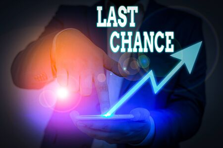 Conceptual hand writing showing Last Chance. Concept meaning a situation considered to be the last opportunity for success Zdjęcie Seryjne