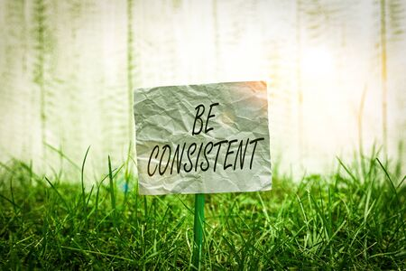 Conceptual hand writing showing Be Consistent. Concept meaning Uniform Persistent Firm Unalterable Even Unchanging Rapport Plain paper attached to stick and placed in the grassy land