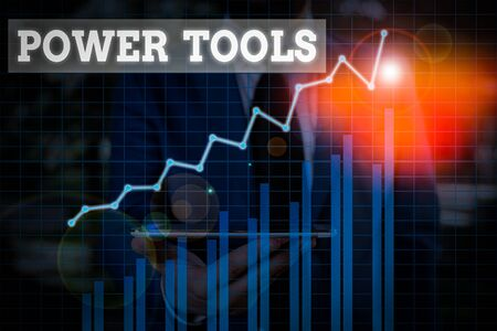 Word writing text Power Tools. Business photo showcasing tool that is actuated by additional power source and mechanism
