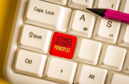Text sign showing Ethics Integrity Principles. Business photo text quality of being honest and having strong moral White pc keyboard with empty note paper above white background key copy space