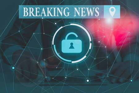 Text sign showing Breaking News. Business photo text Special Report Announcement Happening Current Issue Flashnews Woman wear formal work suit presenting presentation using smart device
