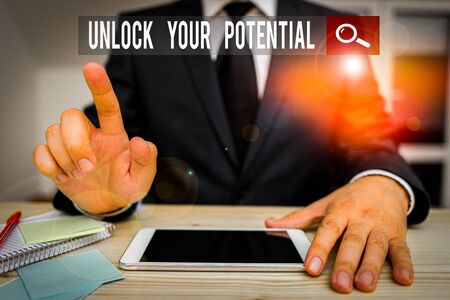 Conceptual hand writing showing Unlock Your Potential. Concept meaning improve self awareness Skills to Achieve more Foto de archivo - 138047418