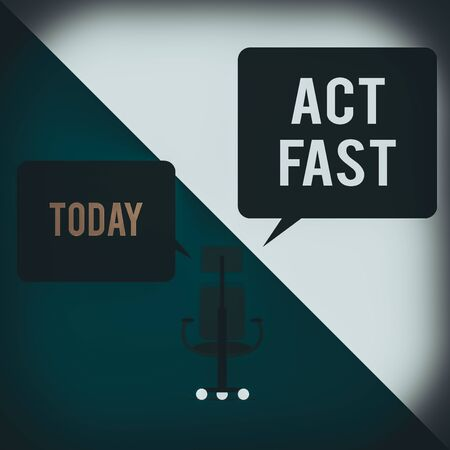 Text sign showing Act Fast. Business photo text Voluntarily move in the highest state of speed initiatively Executive chair sharing two blank square speech bubbles right left side