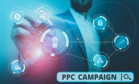 Word writing text Ppc Campaign. Business photo showcasing use PPC in order to promote their products and services Male human wear formal work suit presenting presentation using smart device