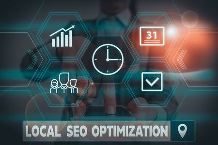 Conceptual hand writing showing Local Seo Optimization. Concept meaning increase Search Visibility to Rank on Top list Woman wear work suit presenting presentation smart device