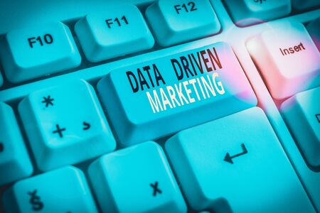 Text sign showing Data Driven Marketing. Business photo showcasing Strategy built on Insights Analysis from interactions White pc keyboard with empty note paper above white background key copy space