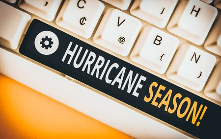 Word writing text Hurricane Season. Business photo showcasing time when most tropical cyclones are expected to develop White pc keyboard with empty note paper above white background key copy space