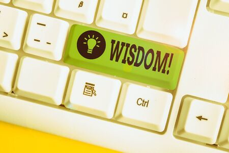 Handwriting text writing Wisdom. Conceptual photo quality having experience knowledge and good judgement something White pc keyboard with empty note paper above white background key copy space