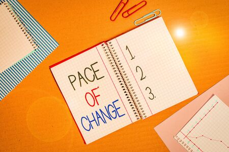 Conceptual hand writing showing Pace Of Change. Concept meaning Shift in normal routine Variation in usual activities Striped paperboard cardboard office study supplies chart