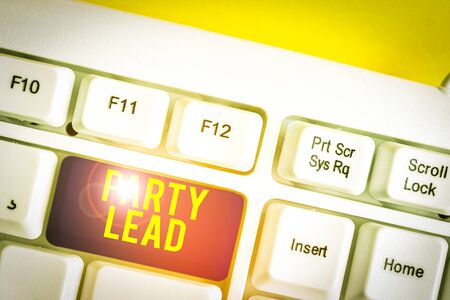 Text sign showing Party Lead. Business photo text acts as the official representative of their political party White pc keyboard with empty note paper above white background key copy space