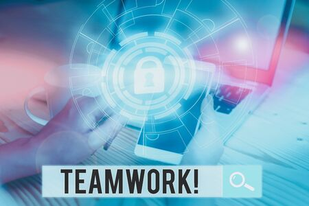 Handwriting text writing Teamwork. Conceptual photo combined action of group especially when effective and efficient Picture photo system network scheme modern technology smart device