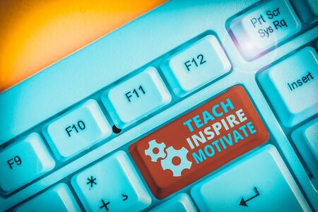 Handwriting text writing Teach Inspire Motivate. Conceptual photo Spark the Imagination to Feel the need to Learn White pc keyboard with empty note paper above white background key copy space