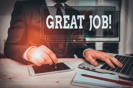 Text sign showing Great Job. Business photo text used praising someone for something they have done very well Male human wear formal clothes present presentation use hi tech smartphone