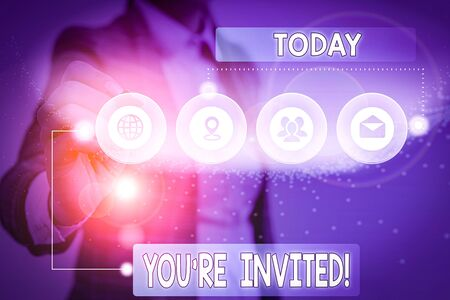 Text sign showing You Re Invited. Business photo showcasing make a polite friendly request to someone go somewhere Picture photo system network scheme modern technology smart device