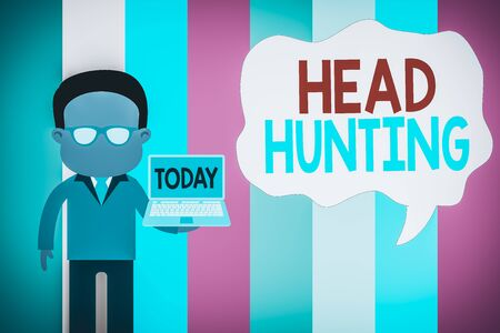 Text sign showing Head Hunting. Business photo showcasing process of recruitment of a prospective or potential employee Standing man in suit wearing eyeglasses holding open laptop photo Art
