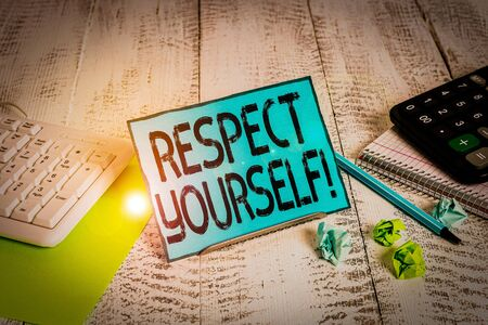 Text sign showing Respect Yourself. Business photo showcasing believing that you good and worthy being treated well Notepaper stand on buffer wire in between computer keyboard and math sheets