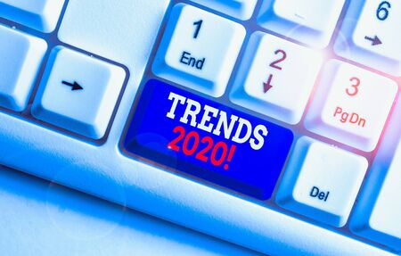 Text sign showing Trends 2020. Business photo text general direction in which something is developing or changing White pc keyboard with empty note paper above white background key copy space