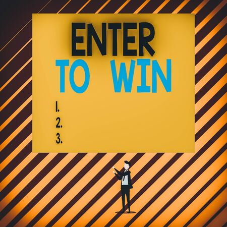 Text sign showing Enter To Win. Business photo showcasing exchanging something value for prize or chance of winning Short hair immature young man stand in front of rectangle big blank board
