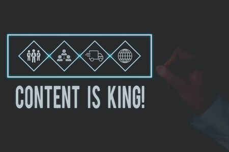 Writing note showing Content Is King. Business concept for marketing focused growing visibility non paid search results Picture photo network scheme with modern smart device