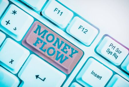 Handwriting text writing Money Flow. Conceptual photo the increase or decrease in the amount of money a business White pc keyboard with empty note paper above white background key copy space