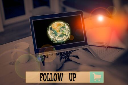 Text sign showing Follow Up. Business photo text a continuation of something that has already been started Picture photo system network scheme modern technology smart device and Elements of this image furnished by NASA Foto de archivo