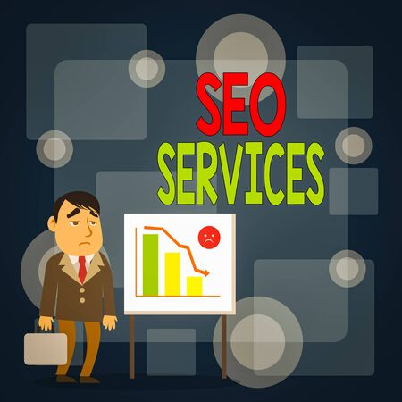 Writing note showing Seo Services. Business concept for suite of techniques and procedures to surge website visibility Businessman with Brief Case Standing Whiteboard Bar Chart