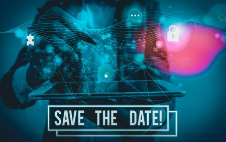 Conceptual hand writing showing Save The Date. Concept meaning Organizing events well make day special event organizers Picture photo network scheme with modern smart device