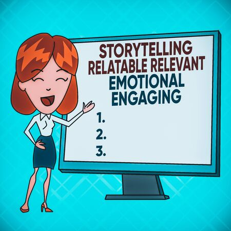 Text sign showing Story Telling relatablerele. Business photo text Storytelling Relatable Relevant Emotional Engaging White Female in Standing Pointing Blank Screen Whiteboard Presentation