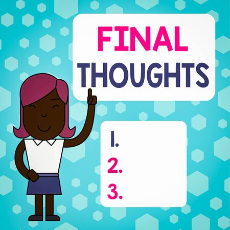 Writing note showing Final Thoughts. Business concept for the conclusion or last few sentences within your conclusion Woman Standing with Raised Left Index Finger Pointing at Blank Text Box