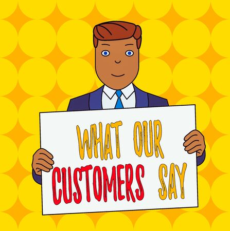 Conceptual hand writing showing What Our Customers Say. Concept meaning to know Users Feedback the Consumers Reactions Smiling Man Holding Suit Poster Board in Front of Himself